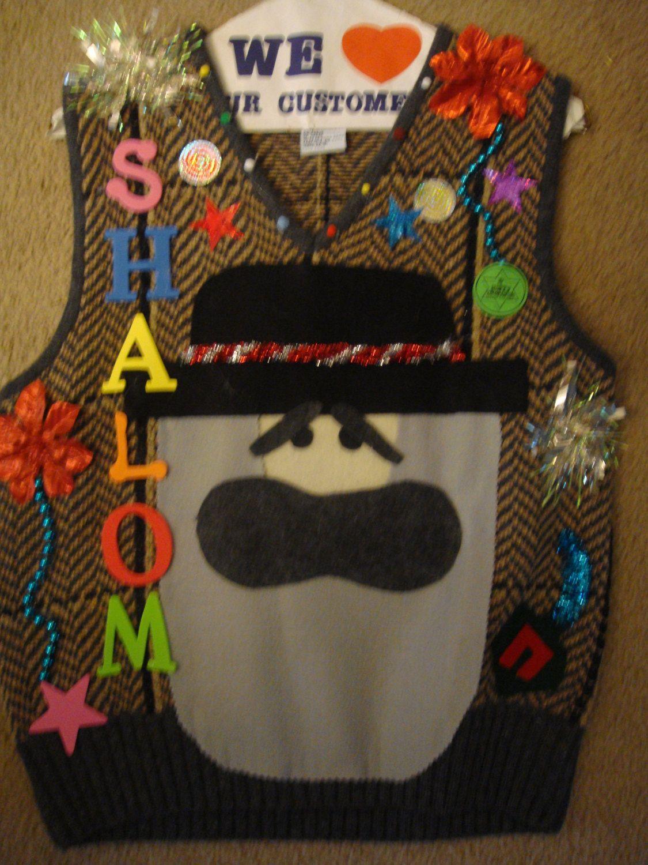 Deb\'s ugly christmas sweater man\'s hanukkah vest small shalom jewish ...