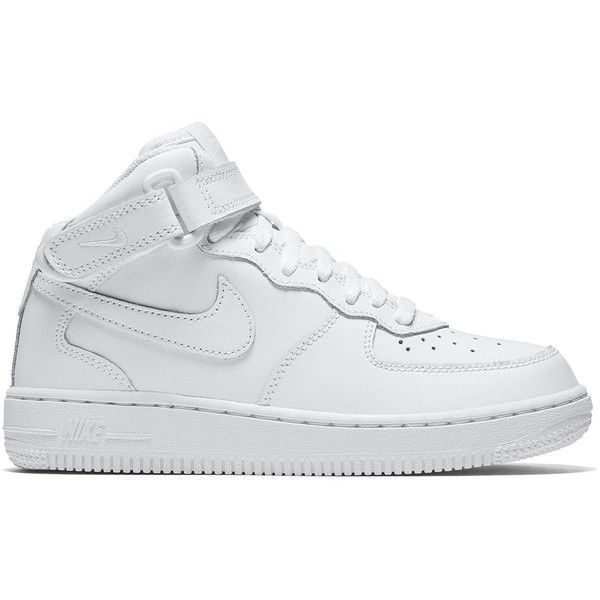 Nike Air Force 1 Mid Childrens Trainer (£42) ❤ liked on Polyvore featuring shoes, sneakers, white, white shoes, nike trainers, textile shoes, nike sneakers and nike footwear