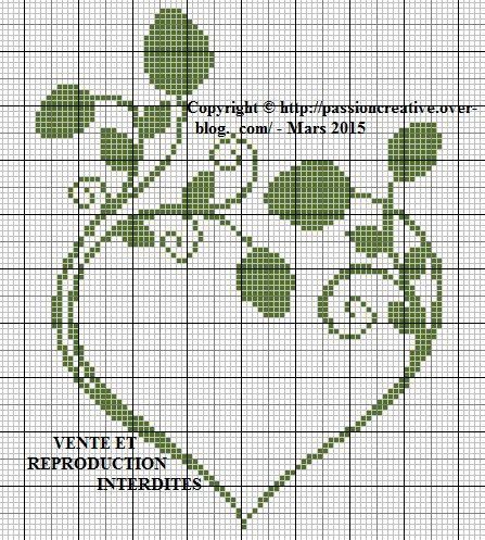 Grille gratuite point de croix : Coeur feuilles | Amour point de croix, Silhouette point de ...