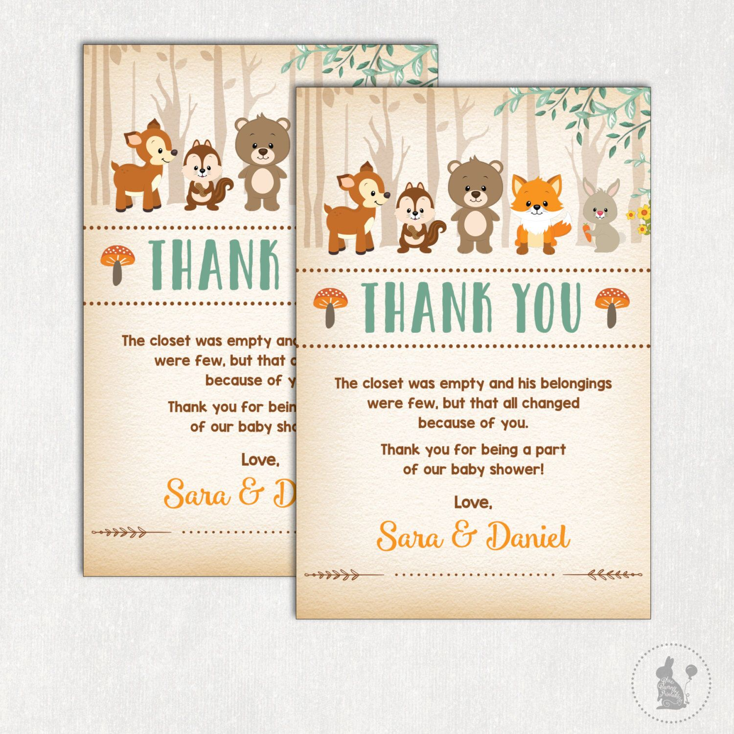 WOODLAND Thank You Card Rustic Woodland Baby Shower Printable