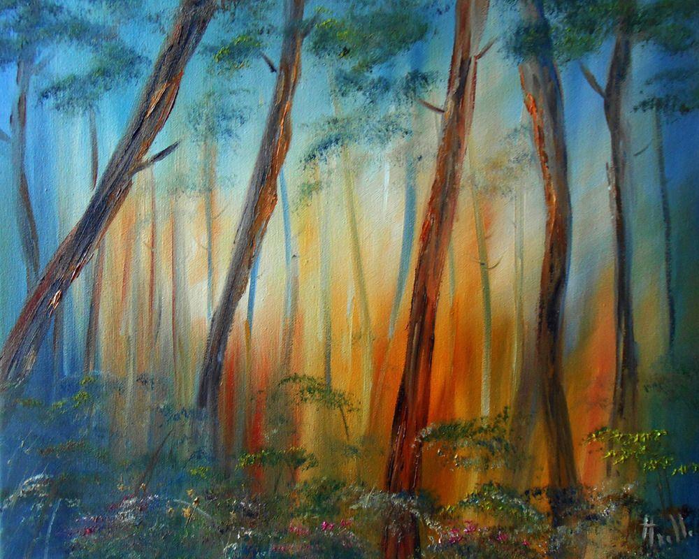 Tableau Paysage La Foret De Pins Peintures Axelle Bosler