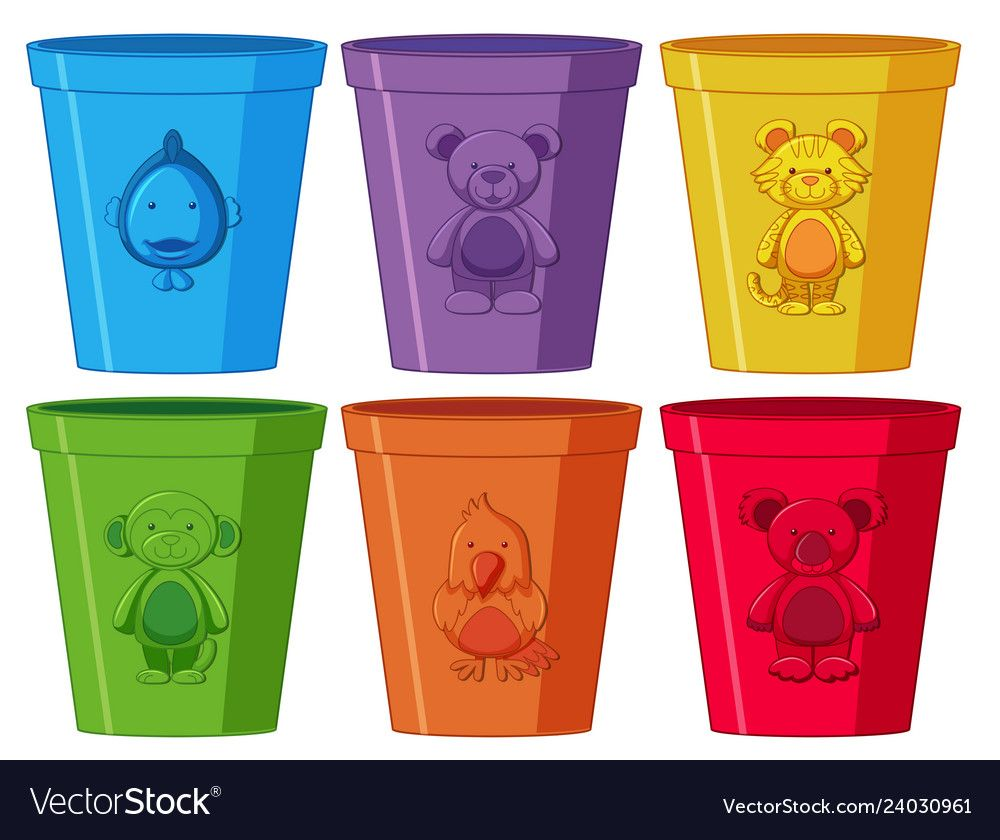 Set Of Colorful Cups Vector Image On Vectorstock Alphabet Activities Preschool Card Games For Kids Color