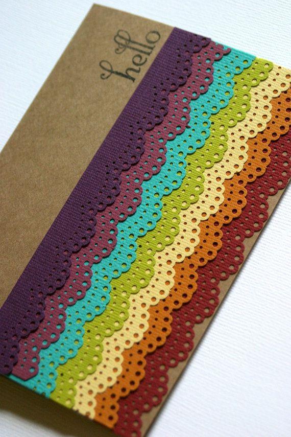 Rainbow Card Idea- Made With Martha Stewart Doily Lace Edge Punch