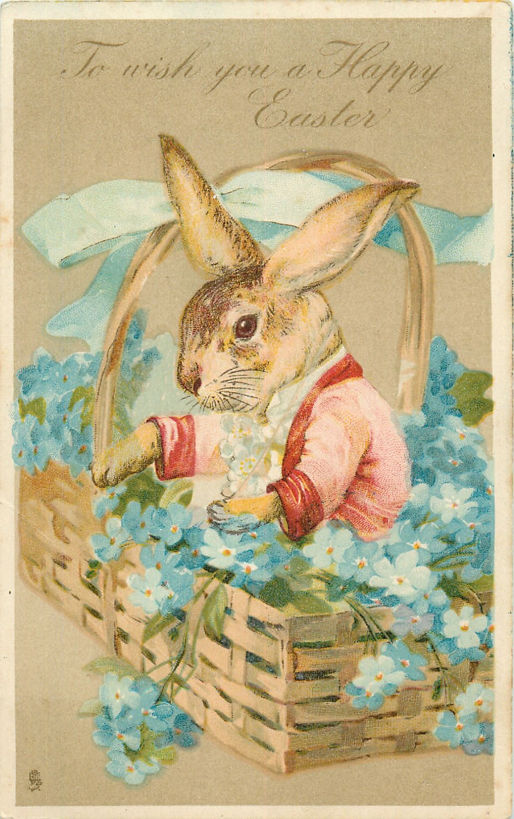To Wish You A Happy Easter Dressed Rabbit In Basket Of Forget Me