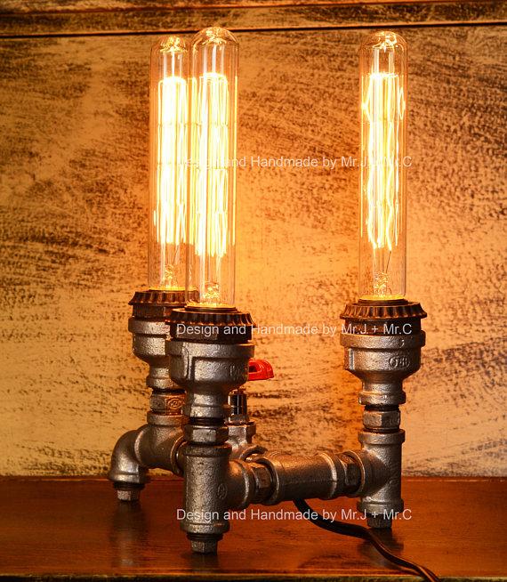 Designer Industrial Lighting Steampunk Lamp Table Lamp Edison Vintage Light Water Pipe Bedside Lamp Pipe Lamp Steampunk Lamp Rustic Light Bulbs