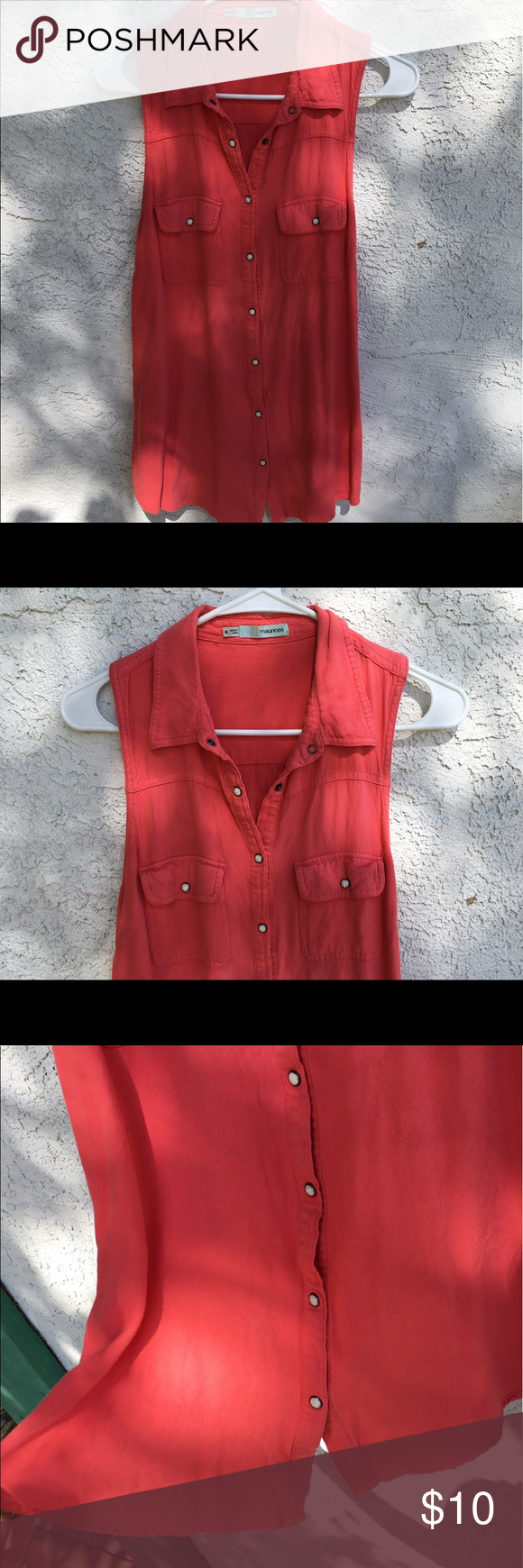 Coral Pink Button Up Shirt Soft And Flowy Coral Colored Shirt