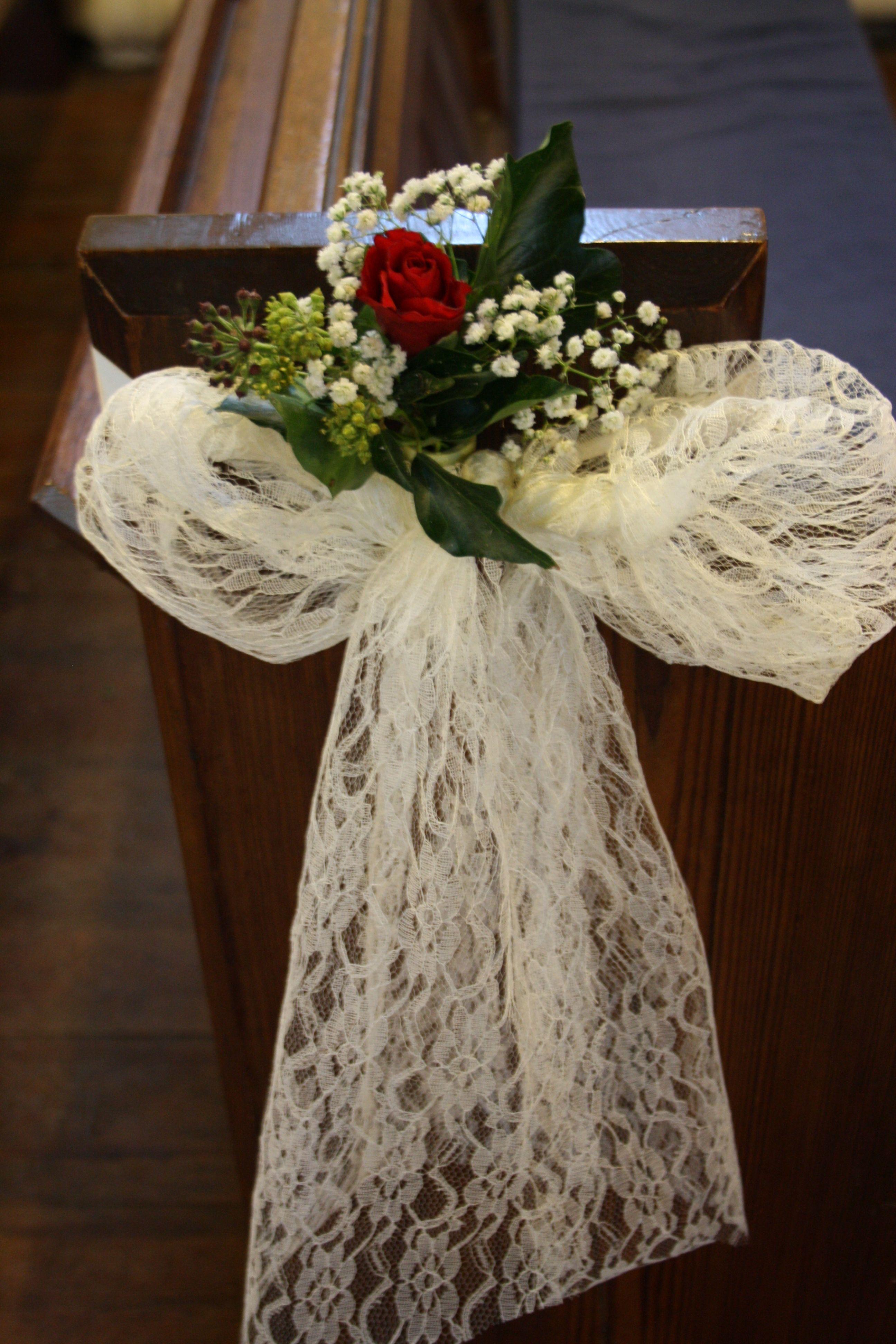 Winter Wedding Church Pew End Arrangement Red Rose Ivy
