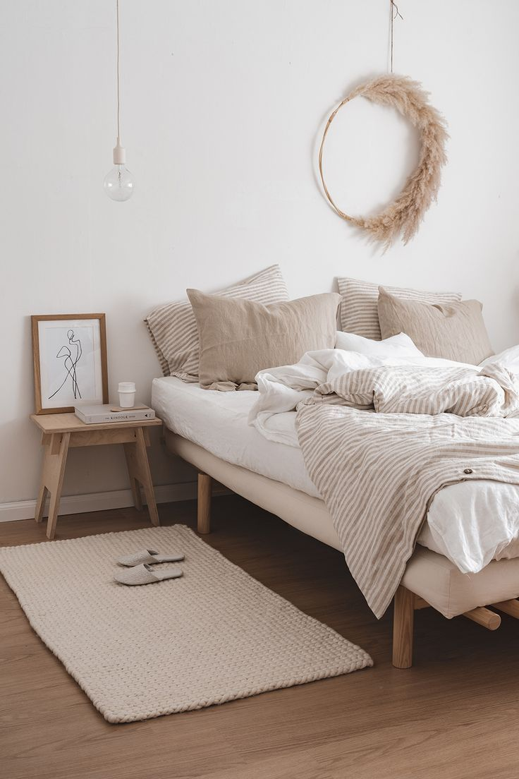Natural Striped Linen Bedding