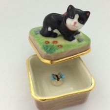 Estatueta Artesanal Vintage Caixa De Surpresa Cerâmica Gato Borboleta capturas no domínio