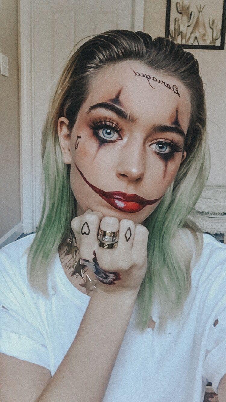 Maquillaje De Halloween In 2020 Joker Make Up Halloween Make Up Schminken Halloween Kostum Joker