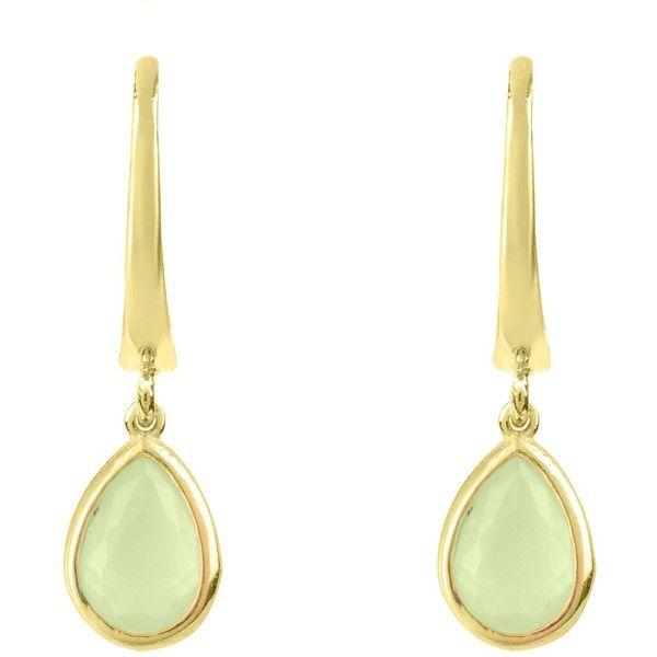 Latelita London Mini Teardrop Earring Gold Aqua £49 ❤ liked on