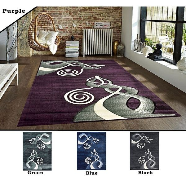 2x7 2 5 3x7 8x10 Feet Rug Carpet Area Green Black Purple Blue Polyester Modern Contemporary