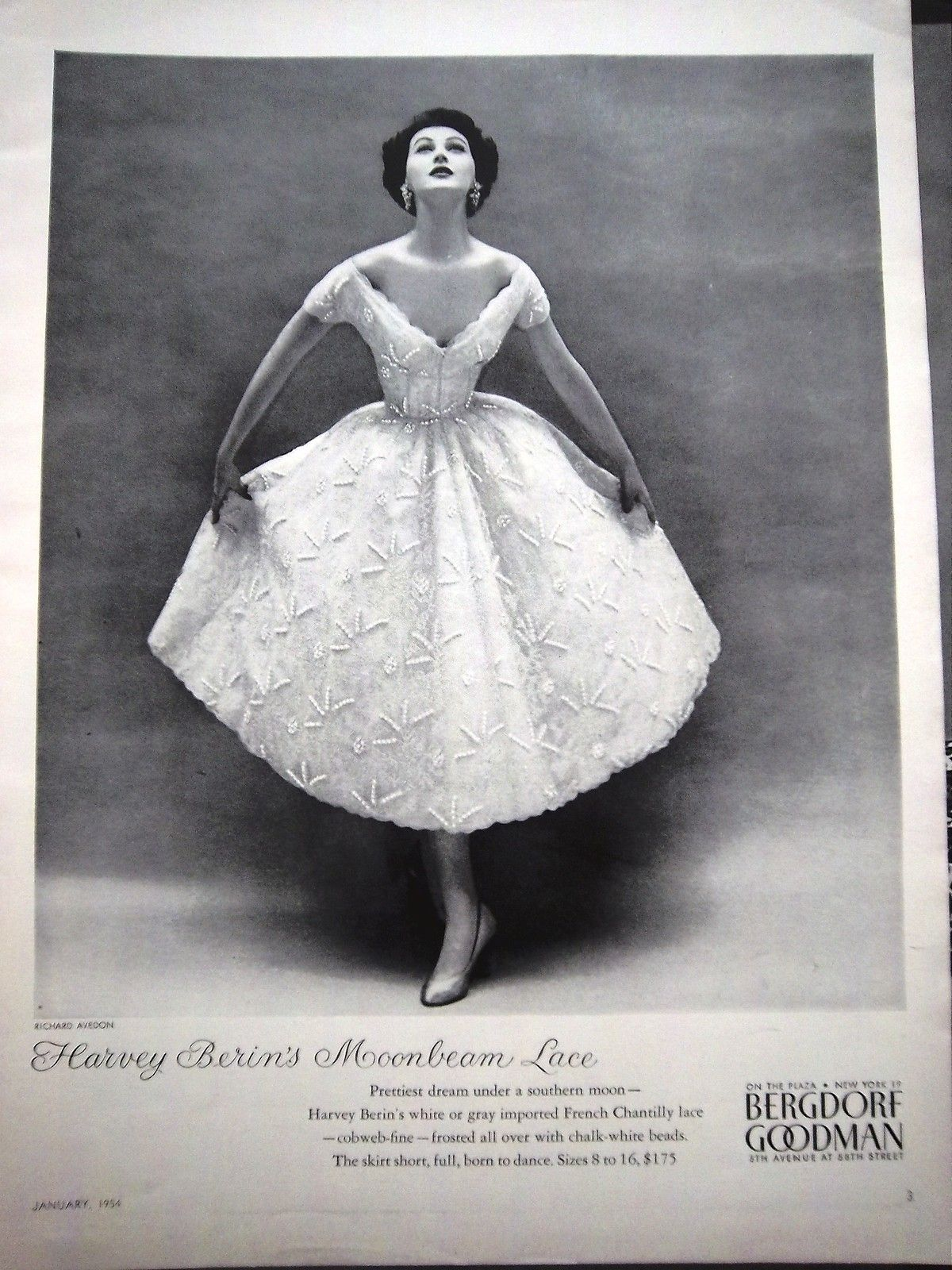 1954 Vintage Harvey Berin French Chantilly Lace Womens Dress ...