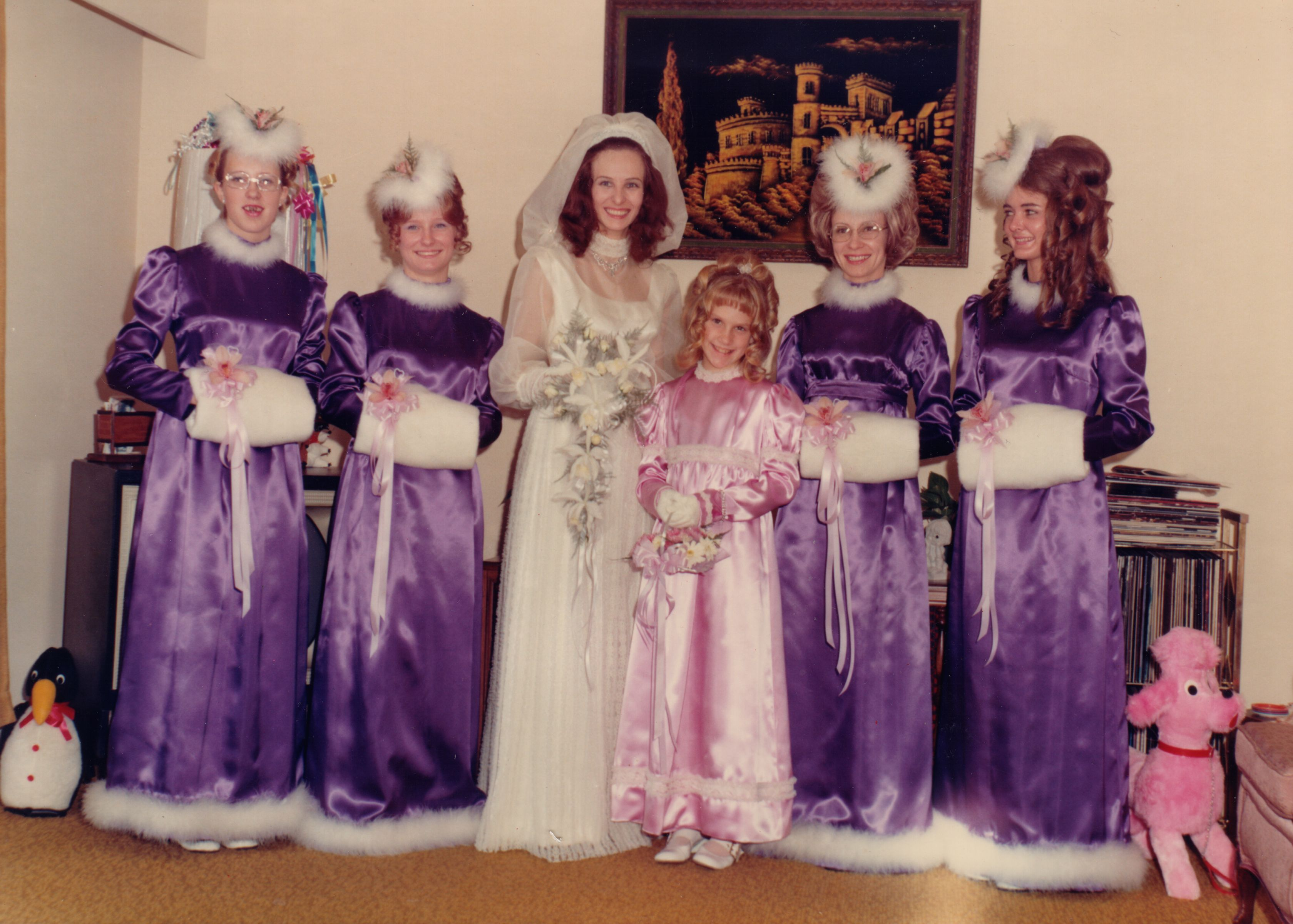 Awkward family photo i should have had my bridesmaids wear these speer heres your purple bridesmaids dress ombrellifo Images