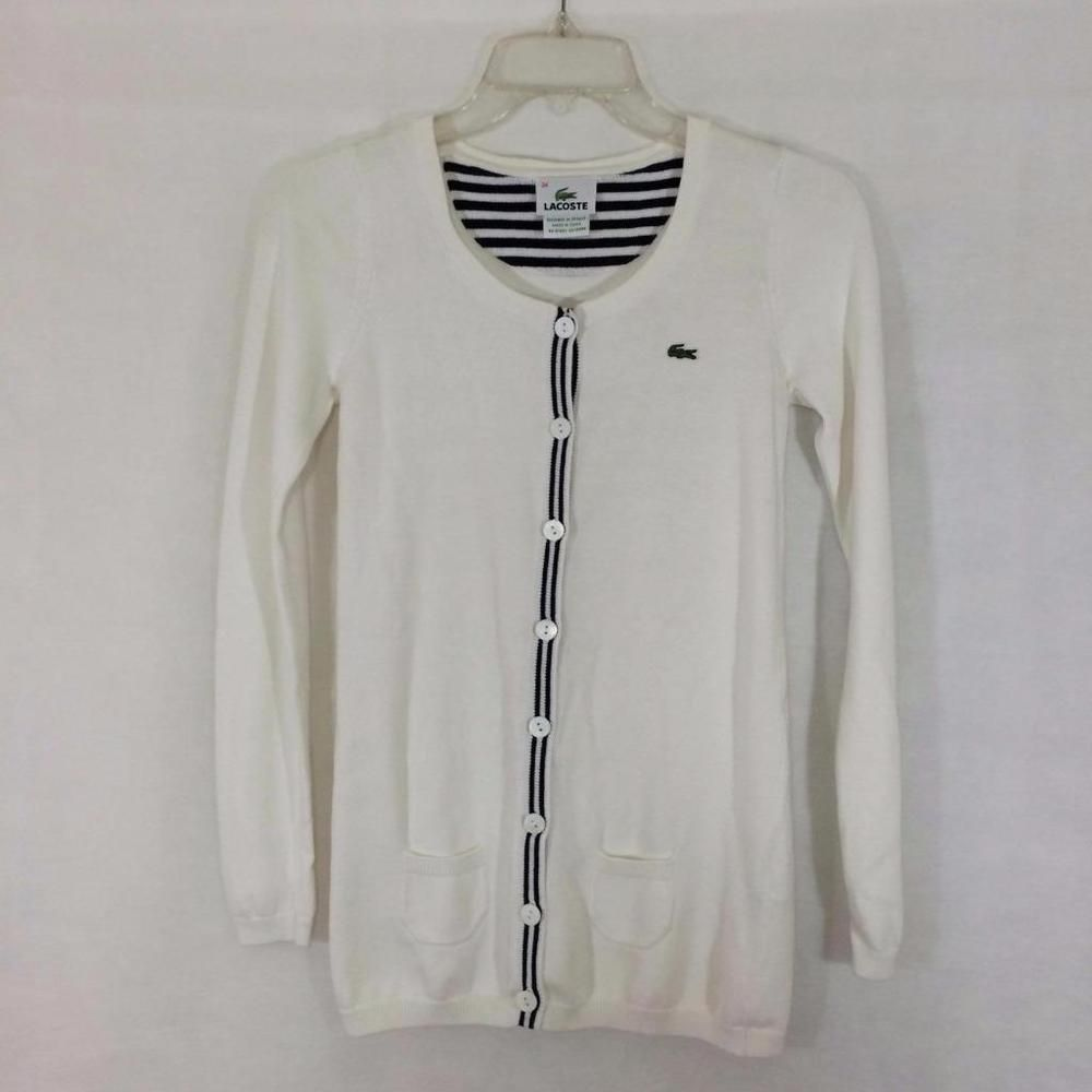 LACOSTE Size 34 = 2 Womens Button Front Sweater White Navy Cotton ...