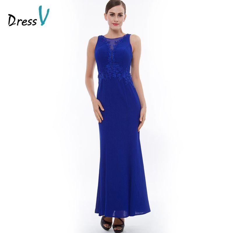Dressv dark royal blue sheath long evening dress scoop neck zipper up column appliques evening dress elegant formal party dress