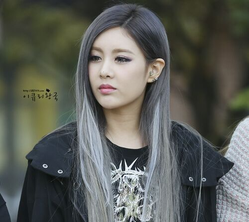 Korean Kpop Idol Girl Band Group T Ara Qri Grey White Hair Dye Color
