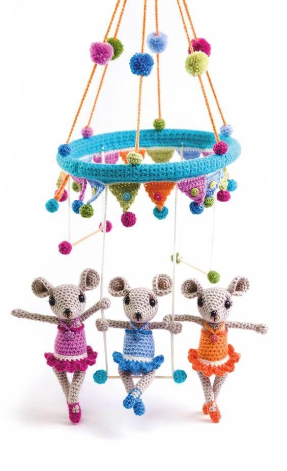 Das Trapez-Trio als Kinder-Mobile | Amigurumi | Pinterest ...