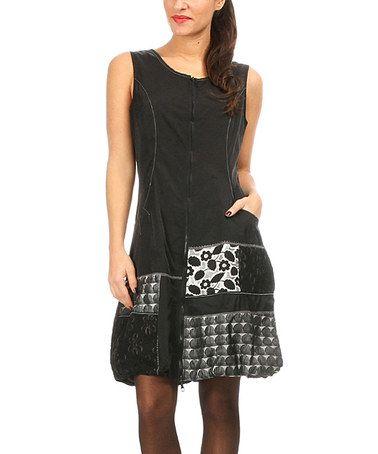 Another great find on #zulily! Black & Gray Patchwork Zip-Up Dress #zulilyfinds