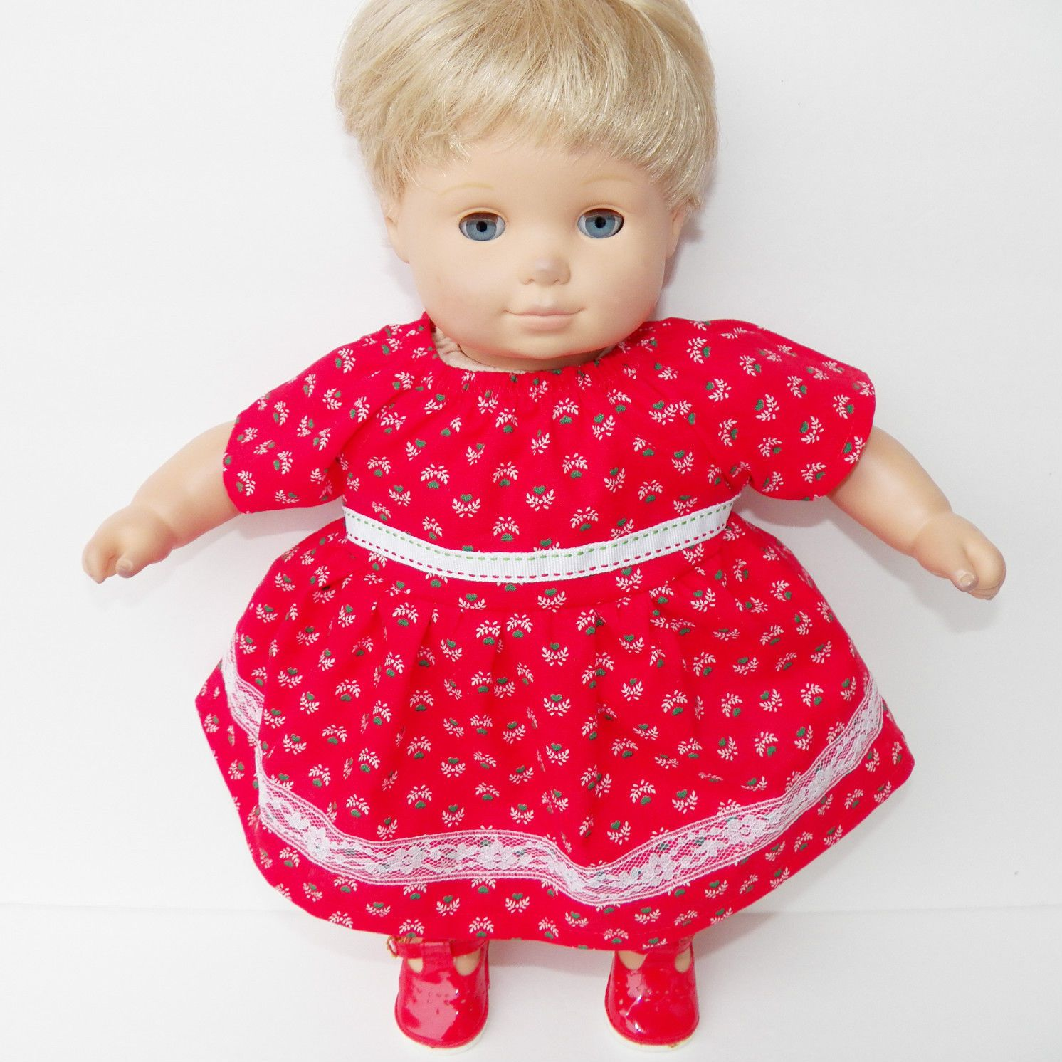 bitty baby clothes doll girl 15 twin red white green heart flower