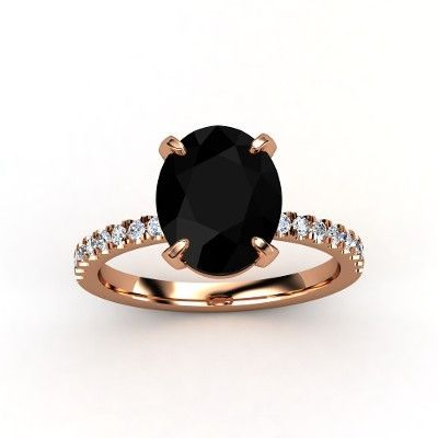 Oval Black yx 14K Rose Gold Ring with Diamond lay down