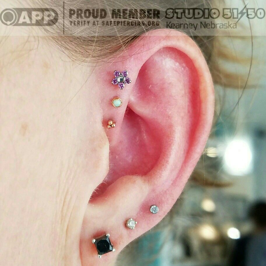 New piercing ideas  Healing triplet from a few months ago Today we slipped that