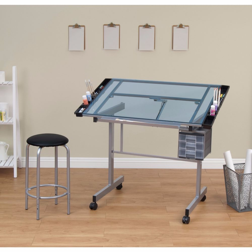 Drafting Table Chair Adjustable Architect Glass Desk Art Studio School Work  Draw