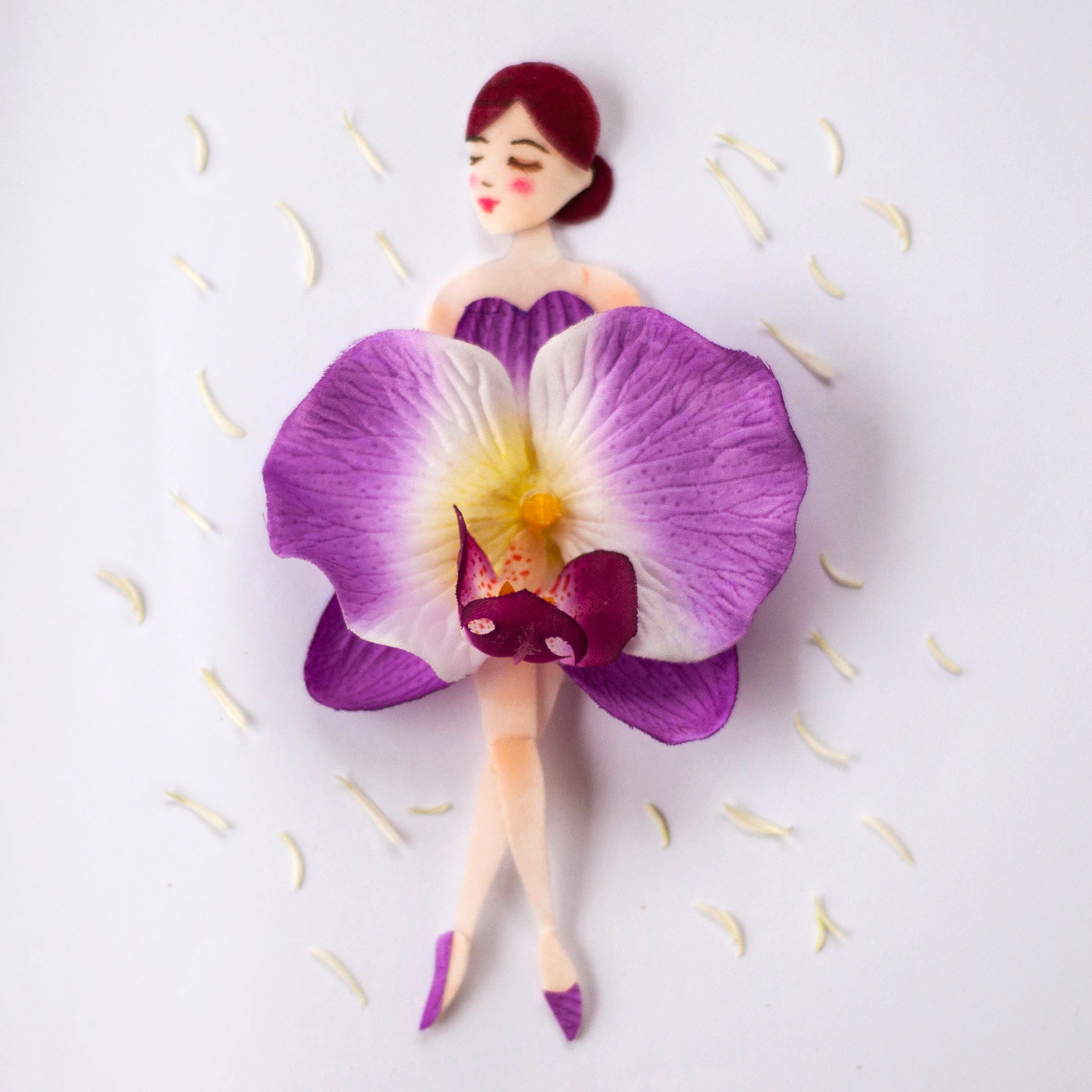 Miss Singapore Made Of Vanda Miss Joaquim Singapore S National Flower A Hybrid Orchid Flower Petal Art Floral Art Design Flower Dress Art
