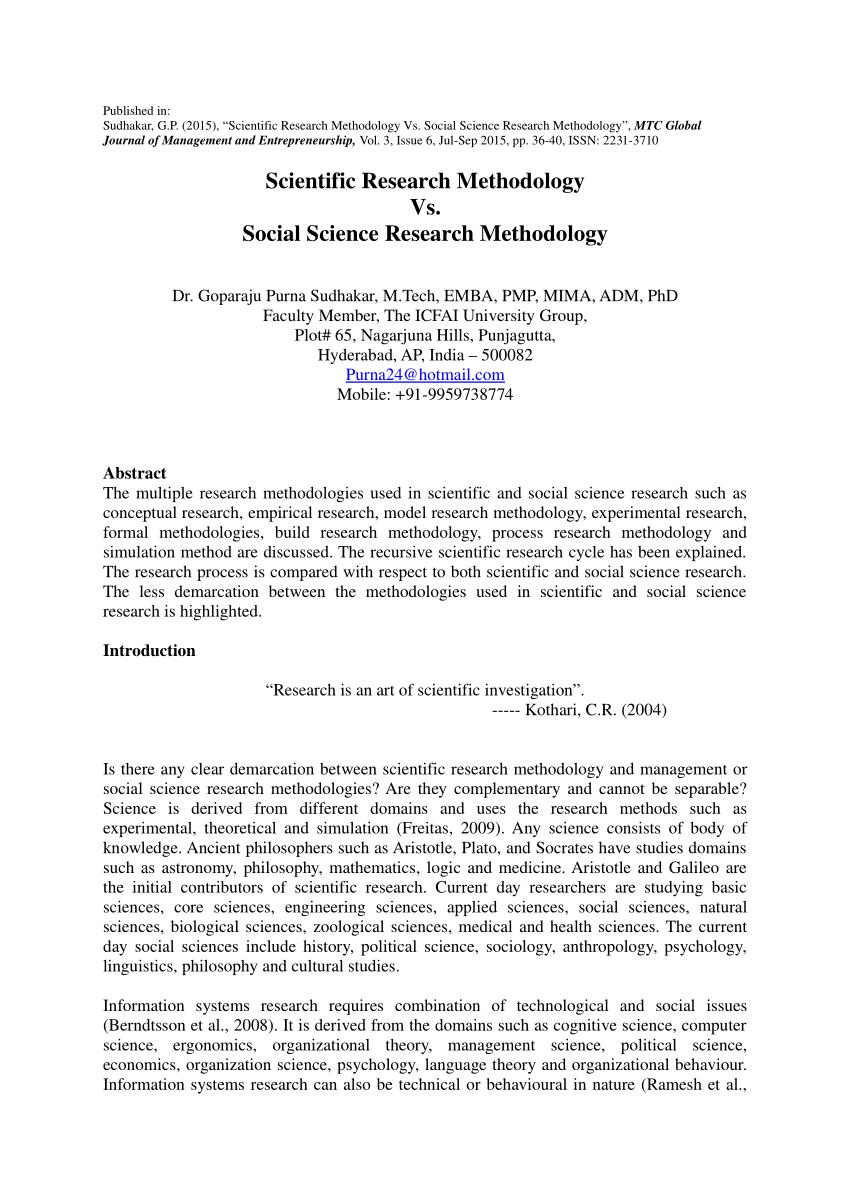 Scientific Research Methodology Vs Social Science Research Methodology Social Science Research Social Science Research Methods