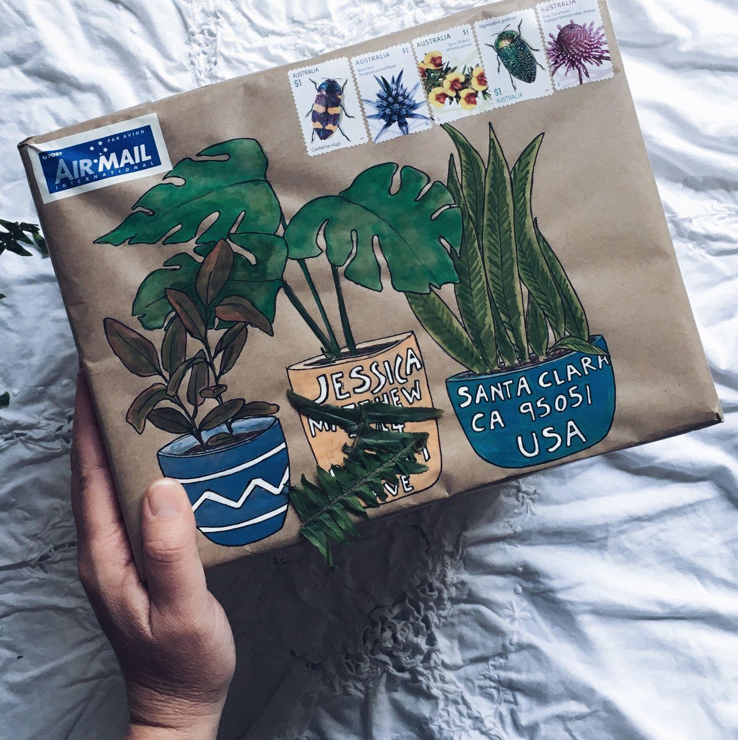 pot plants.jpg Mail art envelopes, Snail mail art