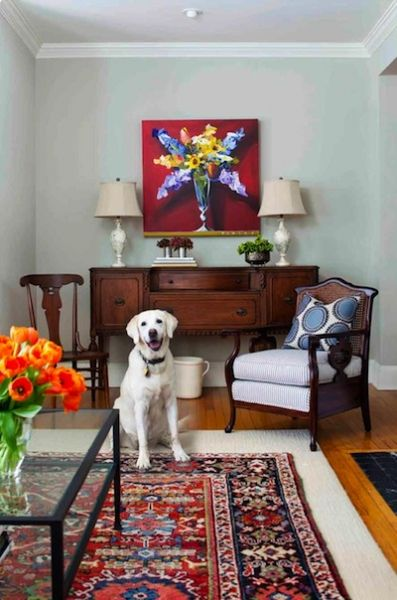 Dog friendly living room with oriental rug, antique furniture and