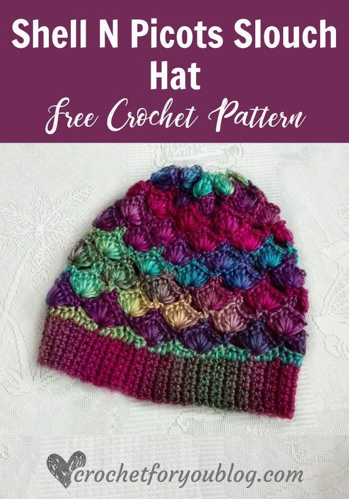 Crochet Shell N Picots Slouch Hat Free Pattern | crochet beanies ...