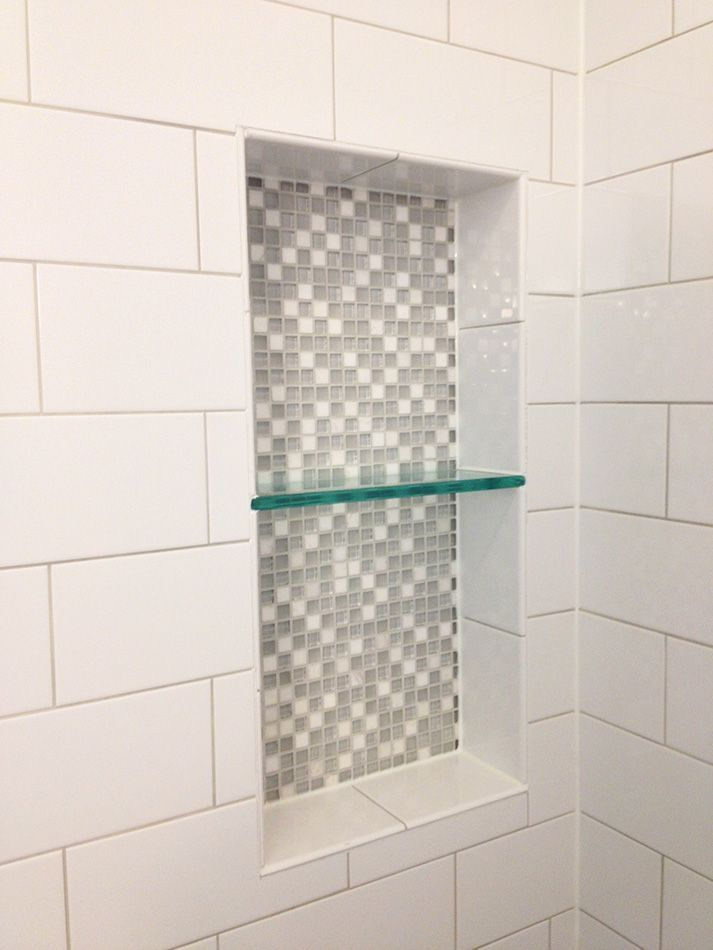 Ice white 4 x 10 glossy subway tile showing the tile for Large glass tile