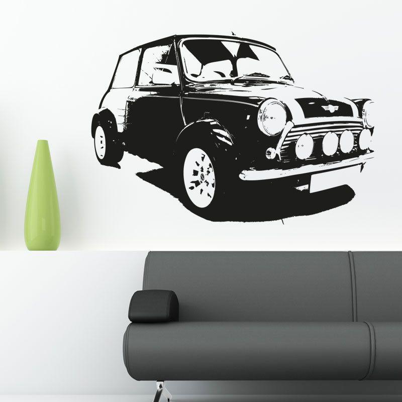 Mini cooper classic car vinyl sticker wall art decal garage c11