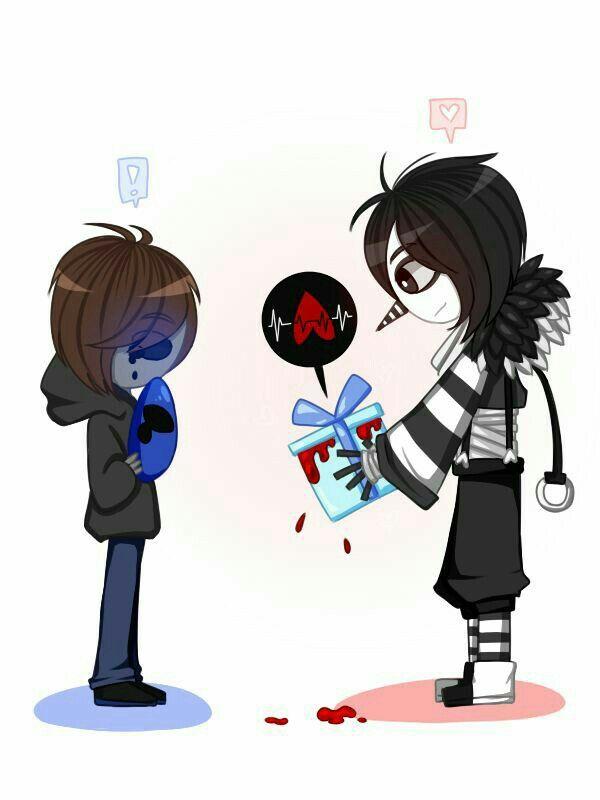 Laughing Jack Eyeless Yaoi Heart Present Cute Text Creepypasta