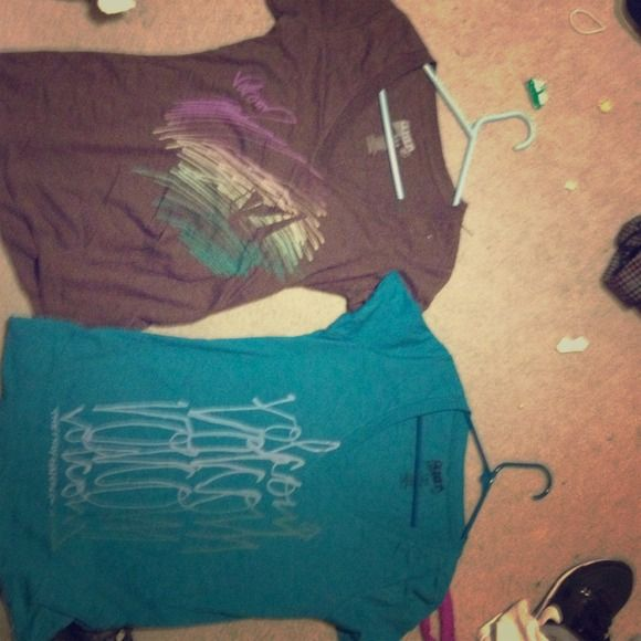 VOLCOM bundle two Medium V-neck shirts A set of two Volcom tshirts One chocolate with multicolor scribble design and the other with light blue detailing both medium and both never worn Volcom Tops