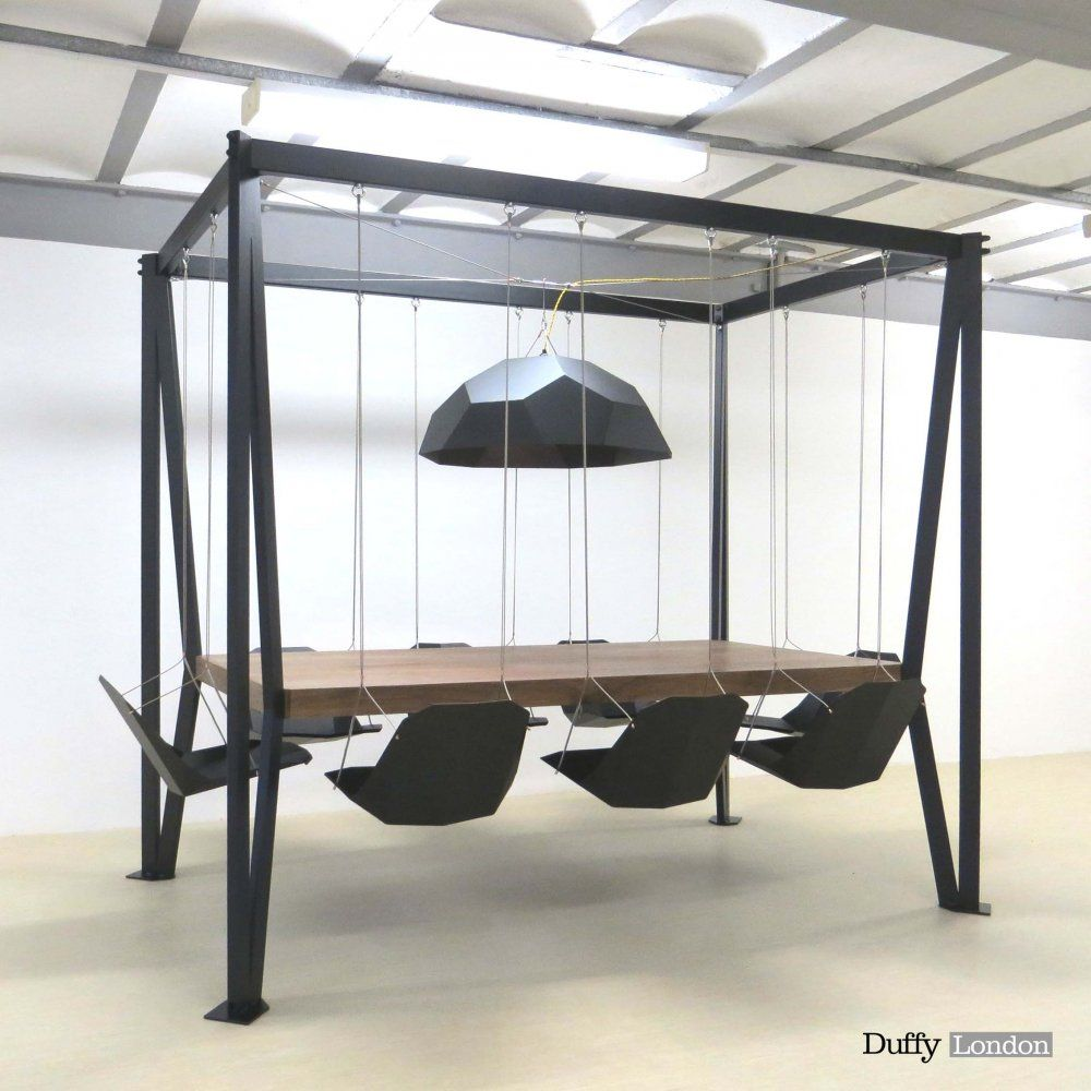 Furniture, Unique Black Swing Table: Playground In Dining Room