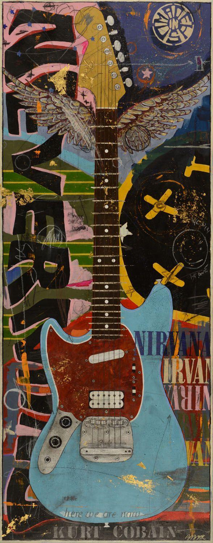 "Michael Babyak • Kurt Cobain's Fender Mustang • 49"" X 20"" • 2014 • Mixed Media"