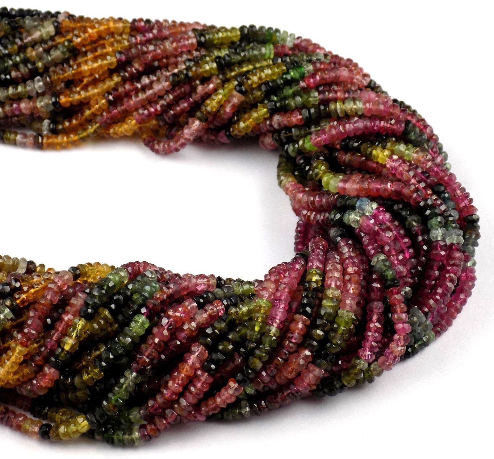 Tourmaline Rondelle Beads For Jewelry 13 Strand Natural Multi Tourmaline Faceted Rondelle Beads 3.5-4mm Multi Tourmaline Micro Cut Beads
