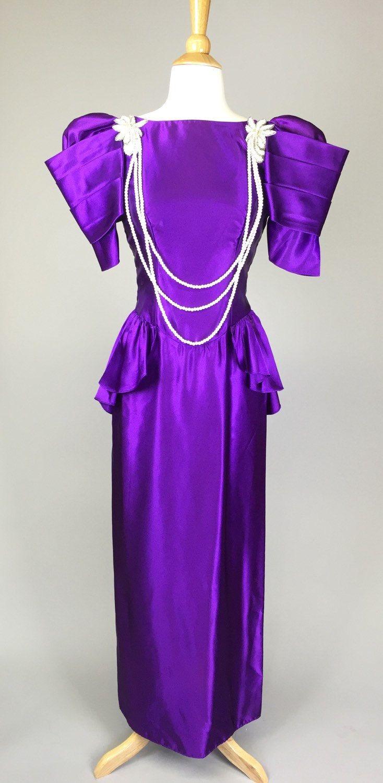 Vintage 80s Designer Purple Prom Dress // 1980s Costume Alfred ...
