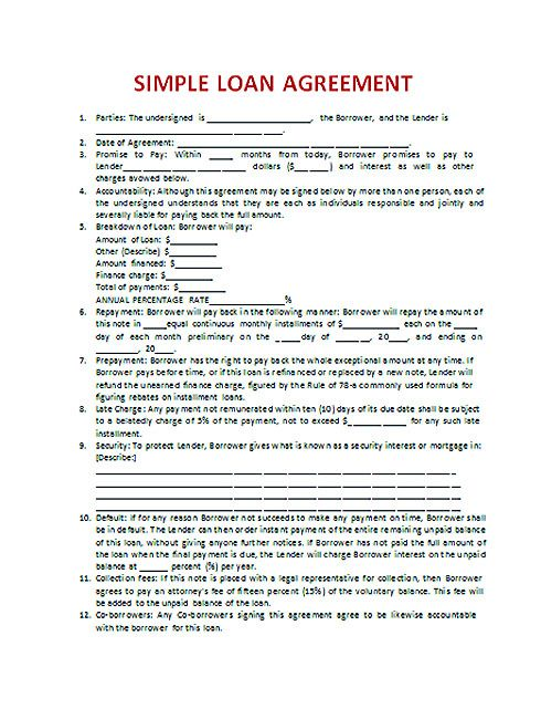 Download Loan Contract Template with Crucial Details to Note - sample contractor agreements