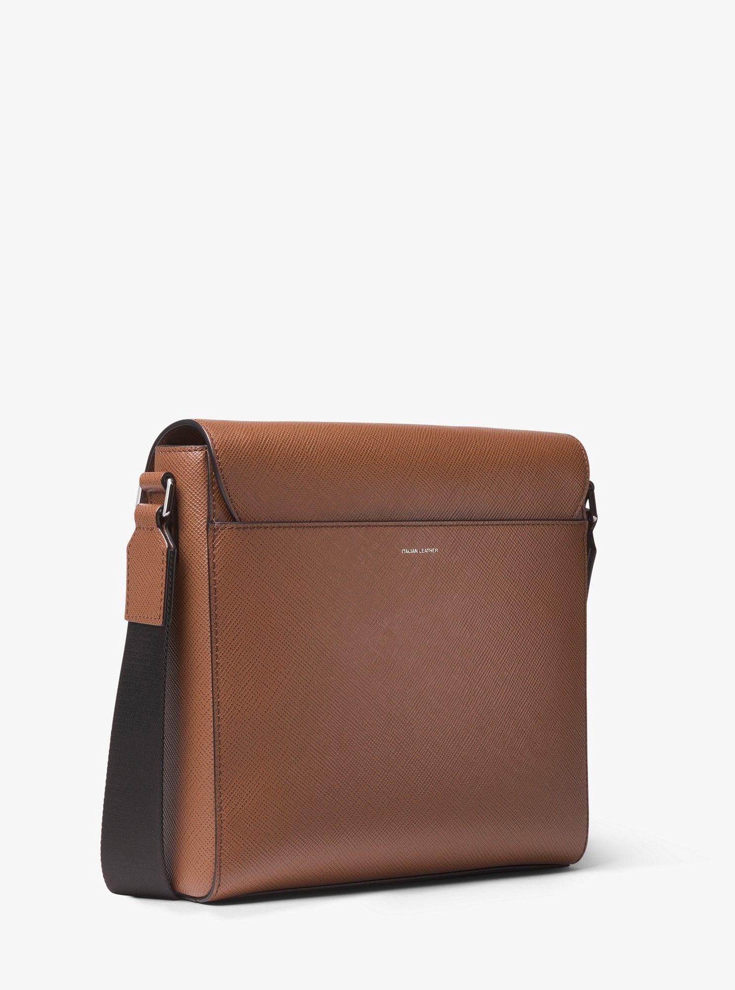 5e71a28e59489d Michael Kors Harrison Medium Leather Messenger Bag - Luggage ...