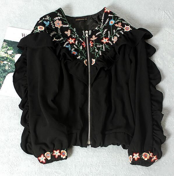 Women Sweet Embroidery Floral Zipper Short Casual Baseball Athletic Coat Jacket