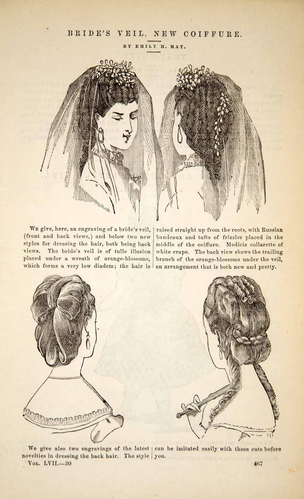 1870 article victorian bridal veil bride hairstyle coiffure