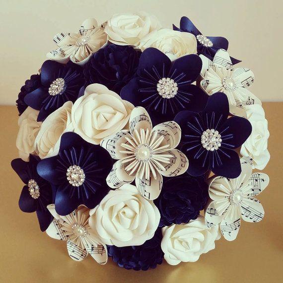 Midnight Navy Blue Sheet Music Wedding Theme Paper Origami Flower Bouquet Jute Hessian