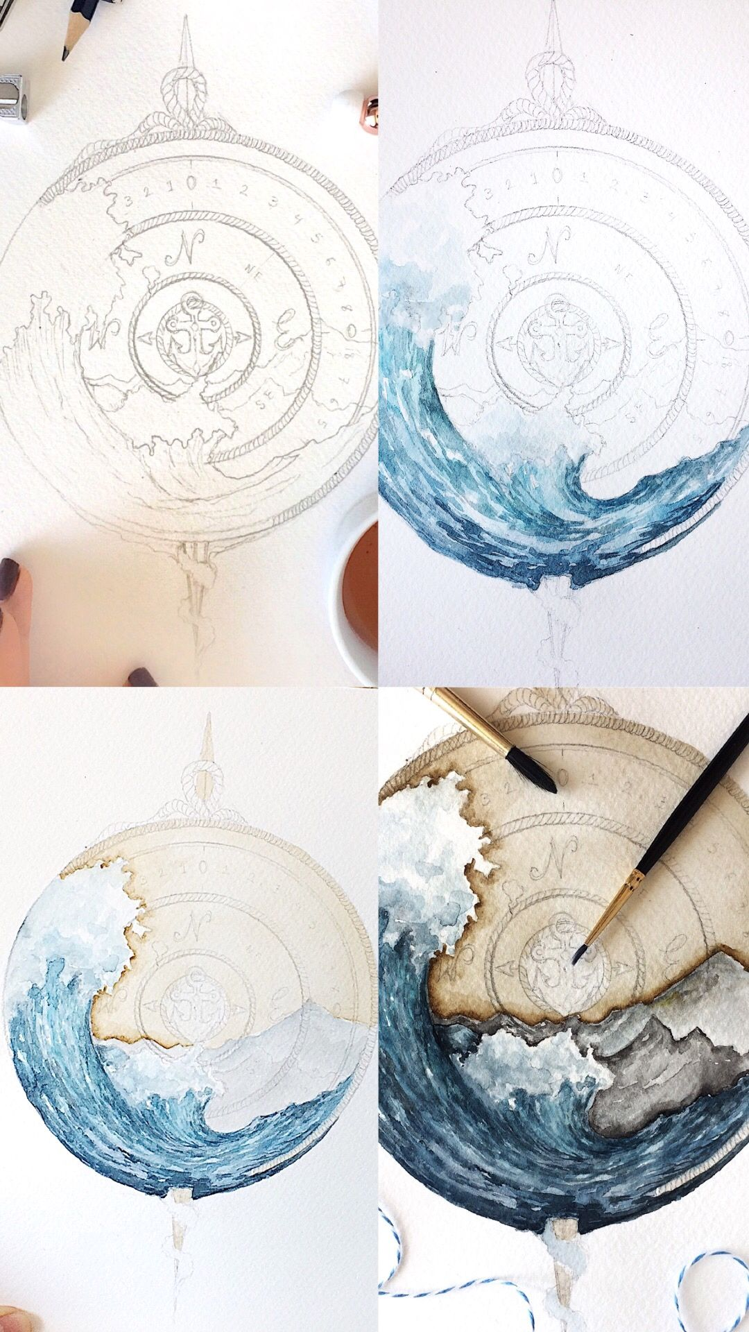 First Set Of Process Photos For The Ocean Themed Compass Tutorial