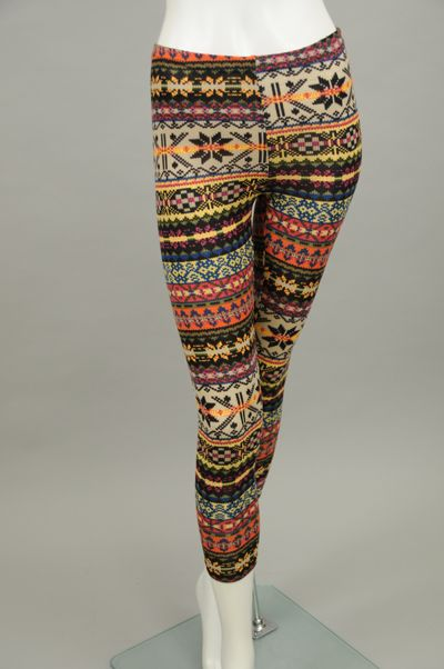 Fair Isle Pattern Sweater Leggings