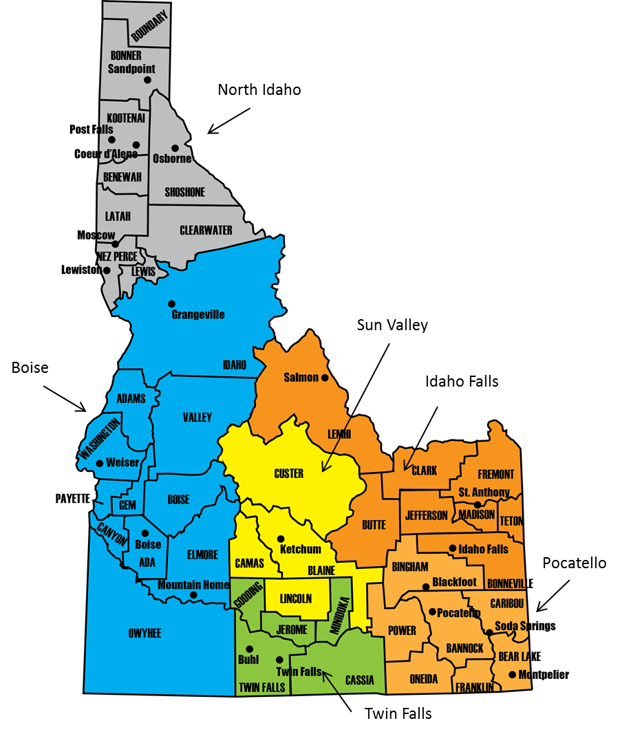 Idaho Counties And Cities