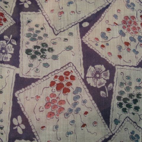 1920s Purple Cotton Floral Sheer Dress Length 1.75 mts - A Piece of Cloth Vintage Fabric Merchants