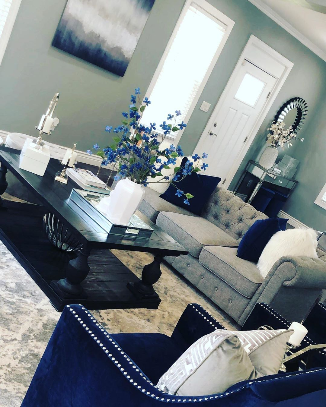 Jusminda On Instagram Happy Sunday Hope Everyone Had A Great Weekend Living Room Decor Grey And Blue Living Room Decor Apartment Living Room Decor Gray